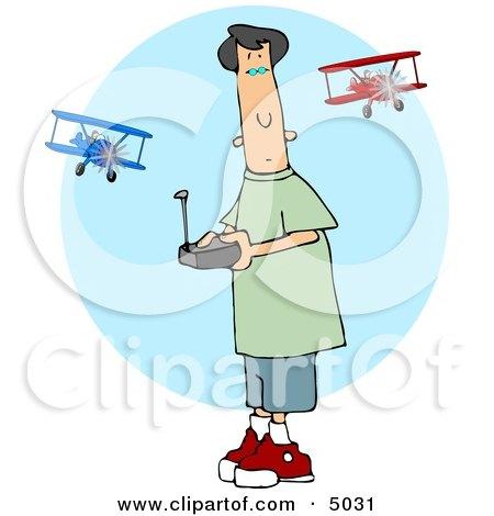 Teenage Boy Flying a Remote Control Model Airplane Clipart by djart