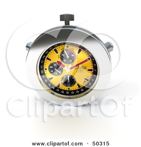 Royalty-Free (RF) 3D Clipart Illustration of a Yellow And Chrome Chronometer Watch by Frank Boston