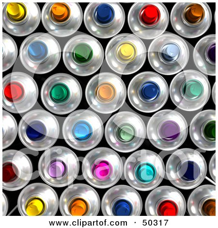 Royalty-Free (RF) 3D Clipart Illustration of a Background of Colorful Aerosol Cans by Frank Boston