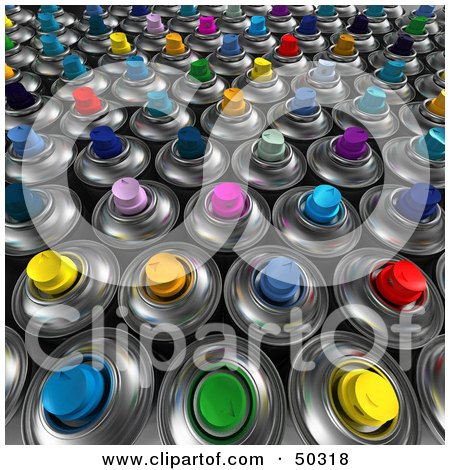 Royalty-Free (RF) 3D Clipart Illustration of a Background of Colorful Aerosol Spray Paint Cans by Frank Boston