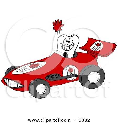 Smiling Tooth Driving a Race Car - Dental Concept Posters, Art Prints
