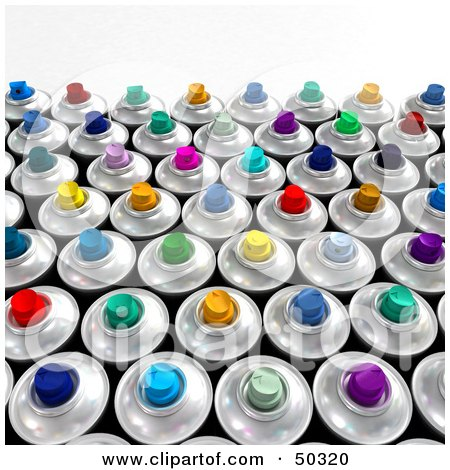 Royalty-Free (RF) 3D Clipart Illustration of a Crowd of Colorful Spray Paint Cans by Frank Boston