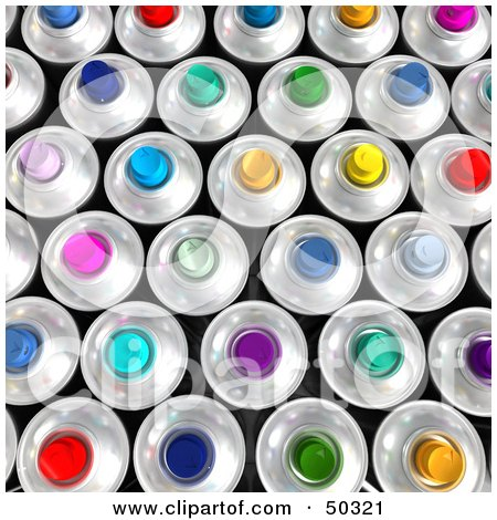Royalty-Free (RF) 3D Clipart Illustration of a Background of Colorful Aerosol Spray Cans by Frank Boston