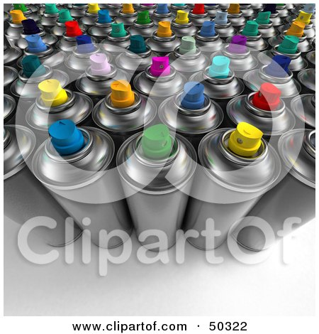 Royalty-Free (RF) 3D Clipart Illustration of a Group of Lined Up Spray Paint Cans by Frank Boston