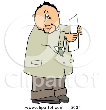 Worried Man Holding a Blank Legal Document In His Hand Clipart by djart