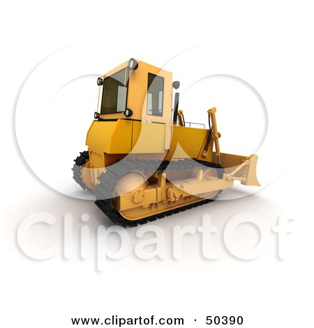 Royalty-Free (RF) 3D Clipart Illustration of a Rear Side View of a Bulldozer by Frank Boston