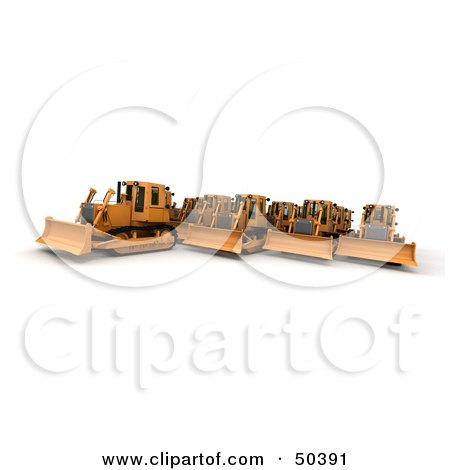 Royalty-Free (RF) 3D Clipart Illustration of a Crowd of Bulldozers by Frank Boston