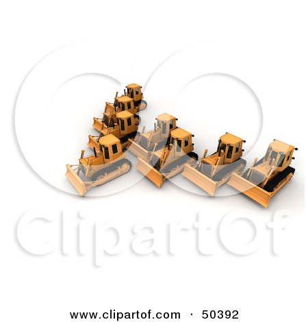 Royalty-Free (RF) 3D Clipart Illustration of a Group of Bulldozers by Frank Boston