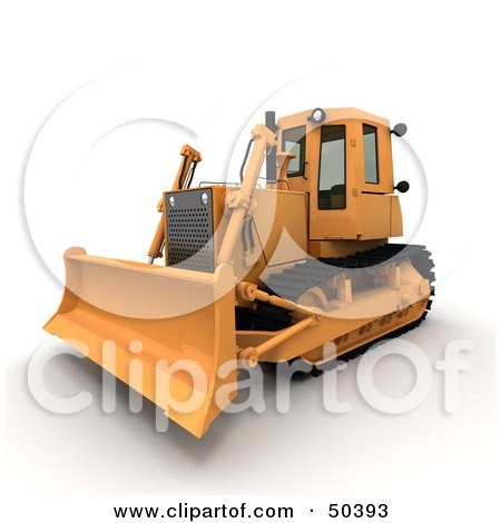 Royalty-Free (RF) 3D Clipart Illustration of a Frontal Side View of a Bulldozer by Frank Boston