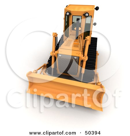 Royalty-Free (RF) 3D Clipart Illustration of a Front View of a Bulldozer by Frank Boston