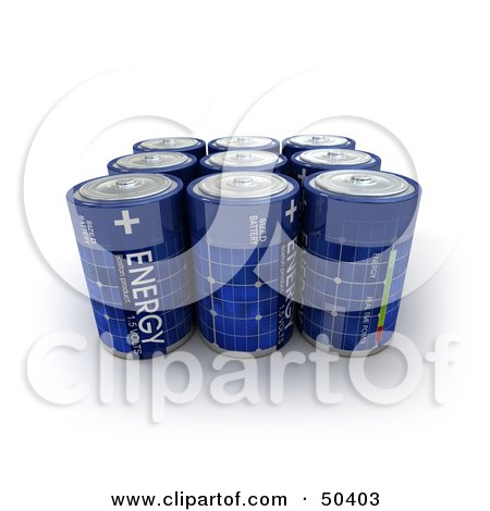 Royalty-Free (RF) 3D Clipart Illustration of a Group Of Blue Solar Power Batteries In Rows by Frank Boston
