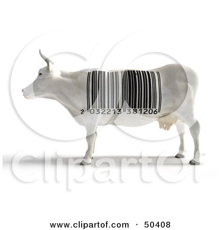 Royalty-Free (RF) 3D Clipart Illustration of a White Dairy Cow With a Barcode Pattern by Frank Boston