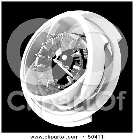 Royalty-Free (RF) 3D Clipart Illustration of a White Clock Mechanism on Black by Frank Boston
