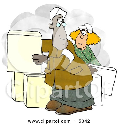 Man and Woman Moving Boxes Clipart by djart