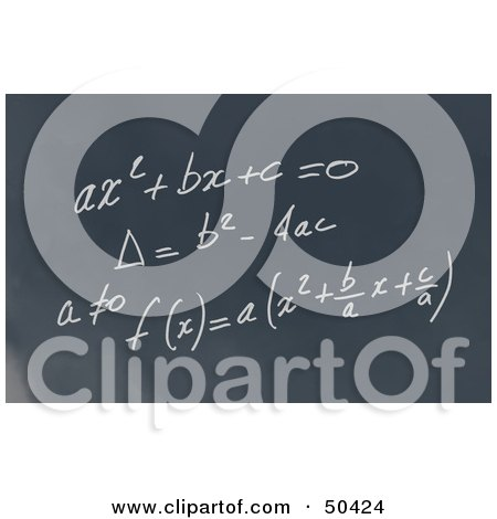 Royalty-Free (RF) 3D Clipart Illustration of a Math Formula Written Out on a Chalkboard by Frank Boston