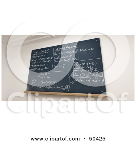 Royalty-Free (RF) 3D Clipart Illustration of a Chalkboard With Mathematic Solutions Written In Chalk by Frank Boston