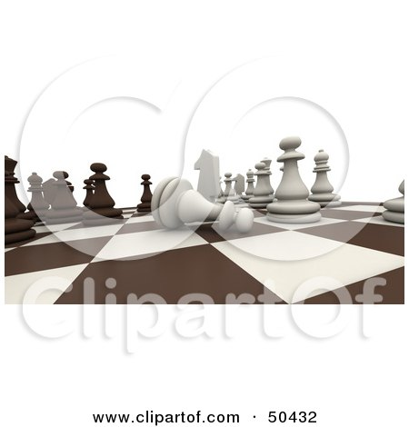 Royalty-Free (RF) 3D Clipart Illustration of a Board Chess Game in Play With a Pawn on its Side by Frank Boston
