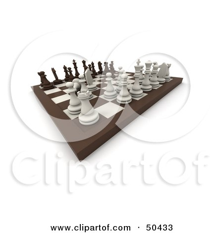 Royalty-Free (RF) 3D Clipart Illustration of a Board Chess Game in Play by Frank Boston