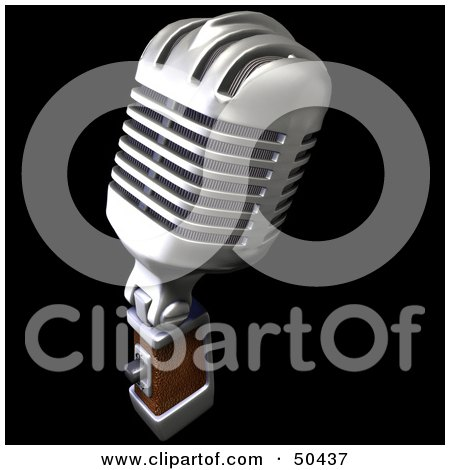 Royalty-Free (RF) 3D Clipart Illustration of a Retro Microphone - Version 2 by Frank Boston