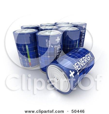 Royalty-Free (RF) 3D Clipart Illustration of Blue Solar Power Batteries by Frank Boston