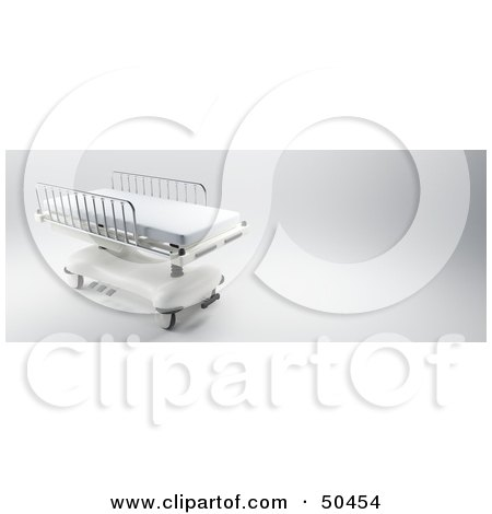 Royalty-Free (RF) 3D Clipart Illustration of a Hospital Bed With Bars on the Sides by Frank Boston
