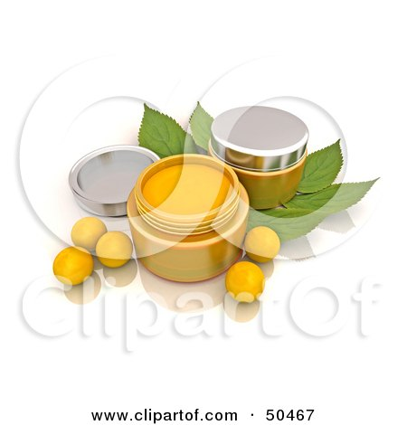 Royalty-Free (RF) 3D Clipart Illustration of Orange Beads and Conatiners of Face Cream by Frank Boston