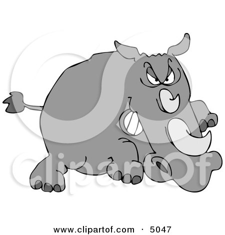 Angry Rhino Charging at Something in Attack Mode Clipart by djart