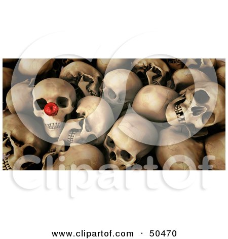 Pile of Skulls, One With a Red Nose Posters, Art Prints