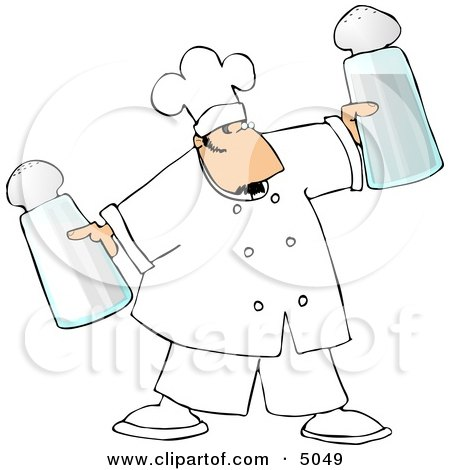Male Chef Holding Oversized Salt and Pepper Shakers Clipart by Dennis Cox