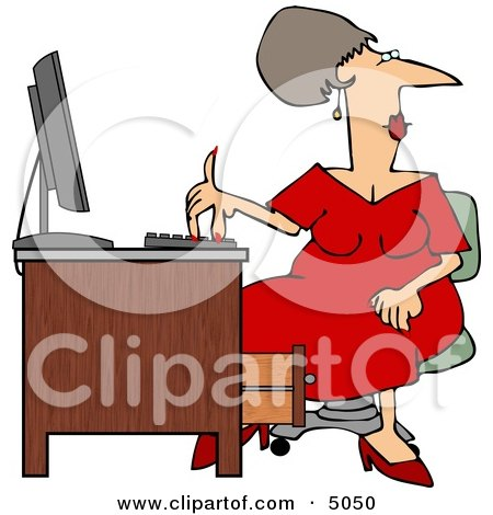Woman Wearing a Red Dress While Working at a Computer Desk Posters, Art Prints