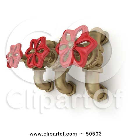 Royalty-Free (RF) 3D Clipart Illustration of Three Golden Faucets With Red Handles by Frank Boston