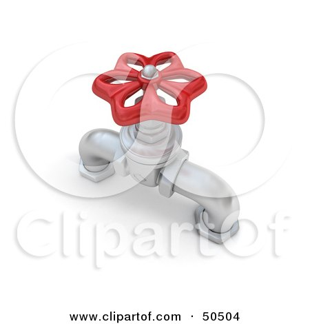Royalty-Free (RF) 3D Clipart Illustration of a Silver Faucet With a Red Handle by Frank Boston