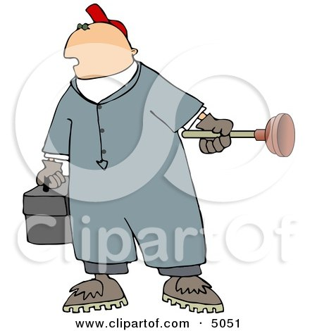 Plumber Man Holding a Toolbox and Toilet Plunger Posters, Art Prints