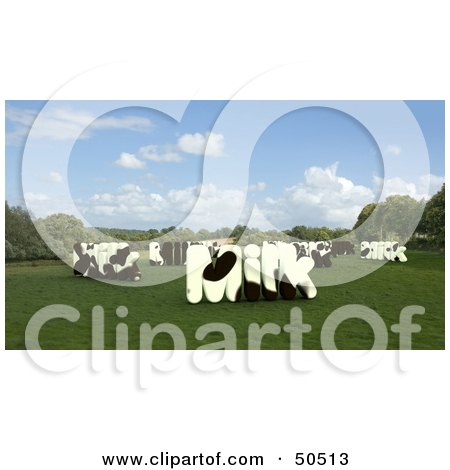 Royalty-Free (RF) 3D Clipart Illustration of MILK Shaped Dairy Cows in a Pasture by Frank Boston