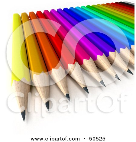 Royalty-Free (RF) 3D Clipart Illustration of a Colorful Array of Sharp Pencils by Frank Boston