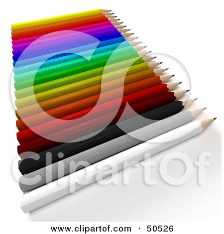 Royalty-Free (RF) 3D Clipart Illustration of a Row of a Colorful Array of Pencils by Frank Boston