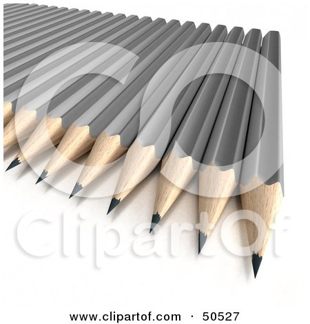 Royalty-Free (RF) 3D Clipart Illustration of Sharpened Gray Pencils on a Surface by Frank Boston