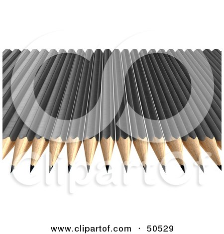 Royalty-Free (RF) 3D Clipart Illustration of a Row of Black Sharpened Pencils by Frank Boston