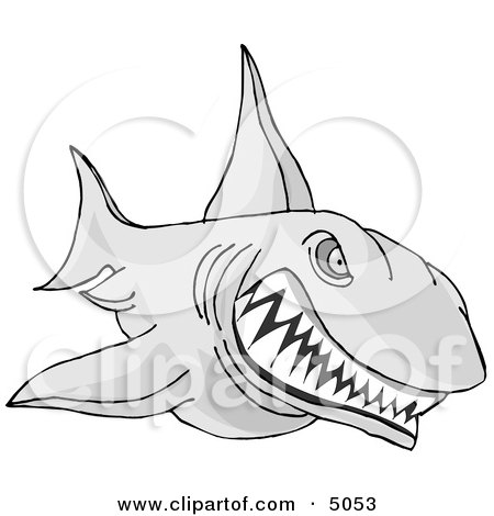 Aggressive Shark Attacking Something Clipart by djart