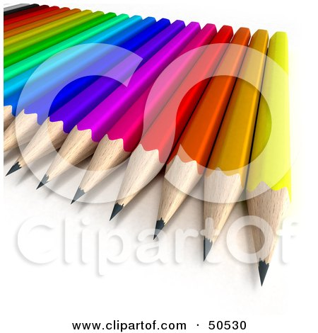 Royalty-Free (RF) 3D Clipart Illustration of a Colorful Pencil Array by Frank Boston