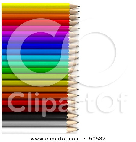Royalty-Free (RF) 3D Clipart Illustration of a Row of a Colorful Array of Rainbow Pencils by Frank Boston