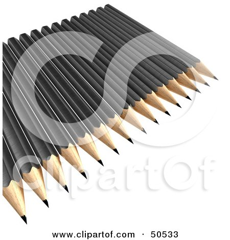Royalty-Free (RF) 3D Clipart Illustration of Sharpened Black Pencils on a Surface by Frank Boston