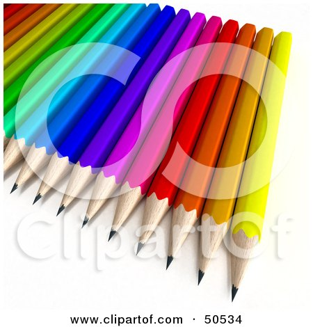 Royalty-Free (RF) 3D Clipart Illustration of an Array of Colorful Pencils by Frank Boston