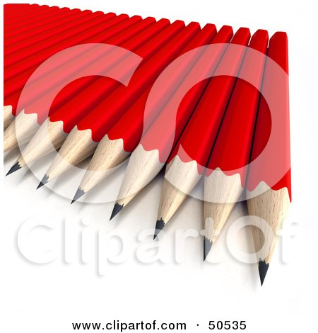 Royalty-Free (RF) 3D Clipart Illustration of Sharpened Red Pencils on a Surface by Frank Boston