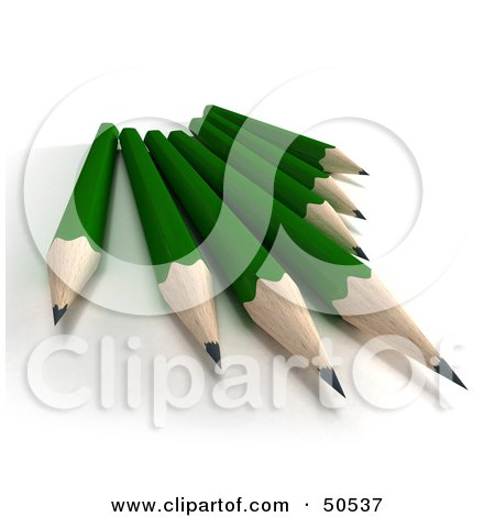 Royalty-Free (RF) 3D Clipart Illustration of a Group of Sharp Green Pencils by Frank Boston