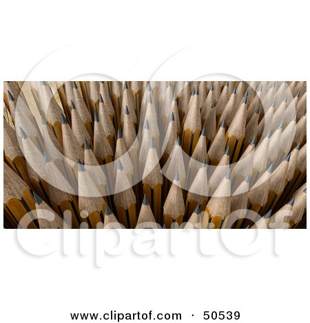Royalty-Free (RF) 3D Clipart Illustration of Sharp Upright Pencil Tips by Frank Boston