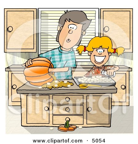 Brother Sister Carving a Pumpkin In The Kitchen Clipart