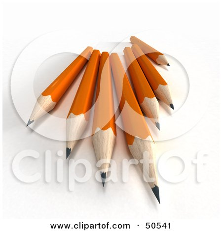 Royalty-Free (RF) 3D Clipart Illustration of a Group of Sharp Orange Pencils by Frank Boston