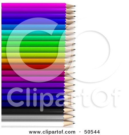 Royalty-Free (RF) 3D Clipart Illustration of a Colorful Array of Pencils by Frank Boston