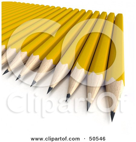 Royalty-Free (RF) 3D Clipart Illustration of Sharpened Yellow Pencils on a Surface by Frank Boston